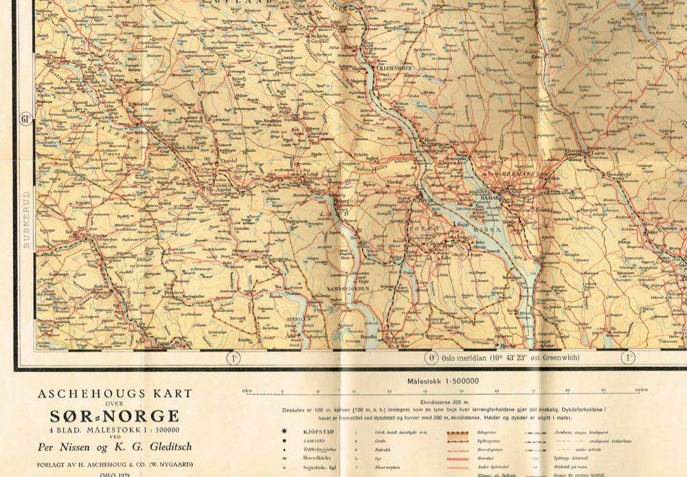 Aschehougs Kart Over Sor Norge Blad 4 Ostlandet Nordlige Del 1